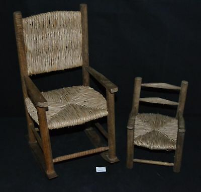 ThriftCHI ~ Primitive Wooden Doll Rocking Chair & Small Chair Woven Straw Seats