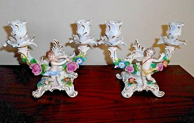Antique Victorian Sitzendorf Porcelain Cherubs Candle Holders