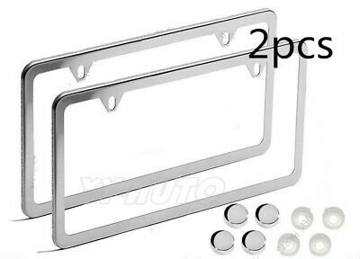2 Real Plain Stainless Steel Chrome License Plate Tag Frames for Auto-Car-Truck