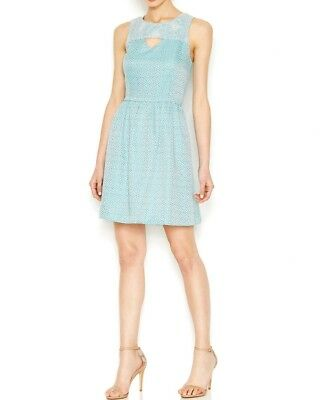 Kensie Sleeveless Brocade Dress Womens Size Small Tahiti Teal Combo