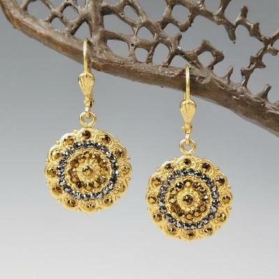 768d68904 La Vie Parisienne Catherine Popesco Filigree Flower Earrings Gold Black  Crystals