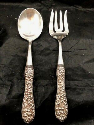 Chinese Export Silver Marked  9 3/4 Inch Serving Set With Floral Repousse