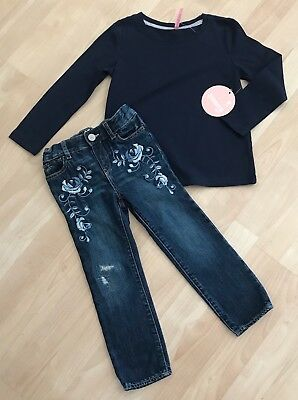 Girls 4T/4 Baby Gap Embroidered Skinny Mini Jeans & Nwt 5 Tresics Navy Top Shirt