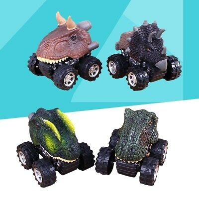 4PCS Friction Powered Pull-back Car Toy Vehicles for Kids Dinosaur Model Car Toy