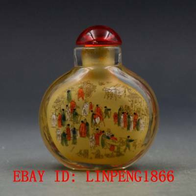 Antique Chinese Glass Hand-painted People Landscape Snuff Bottles L129