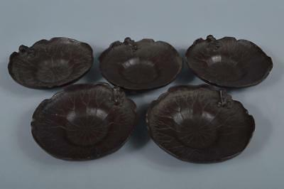 R6297: Japanese XFCopper Lotus Frog sculpture Iron TEA CUP TRAY Saucer 5pcs