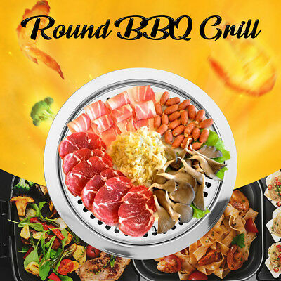 Round Iron Korean BBQ Grill Plate Barbecue Non-stick Pan Holder Cooker Tool