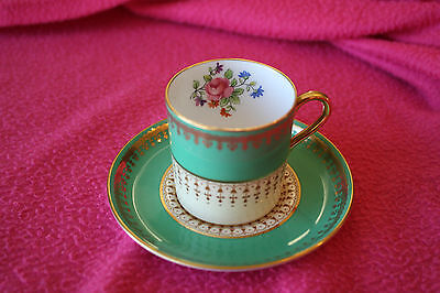 "Vintage Green Aynsley Demitasse Cup and Saucer, Gilt Floral, ""HATFIELD"", No Tax"