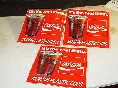 Estate 3 Old Vintage Fascal Unused Advertising Coca Cola Store Window Sticker