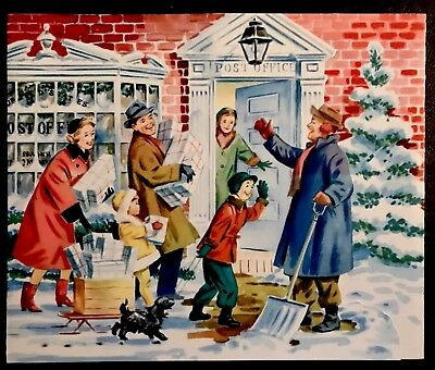 50s Post Office Man Shovels Snow Family Mails Packages Vtg XMAS Card FRONT ONLY