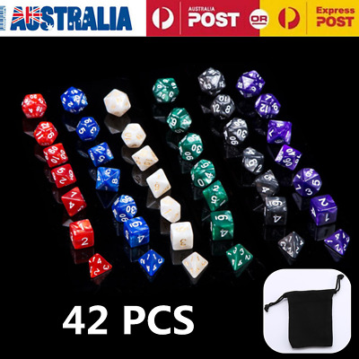 42pcs Polyhedral Dice for Dungeons Dragons DND RPG D20 D12 D10 D8 D6 Game OZ