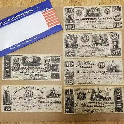 1838-1841 Republic of Texas Currency - Replicas The Set includes 6 bills