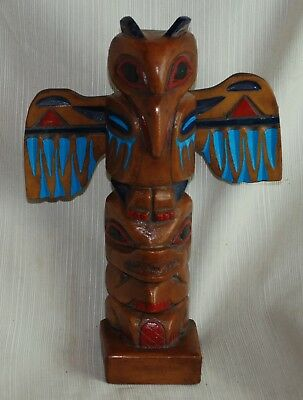 Hand Carved and Painted Wood, Signed Totem