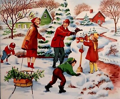 1950's Family Outdoors Dad Kids Build Snowman Mom Sled Vtg XMAS Card FRONT ONLY