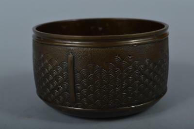 R6206: Japanese Copper Wave sculpture WASTE-WATER POT Kensui Tea Ceremony