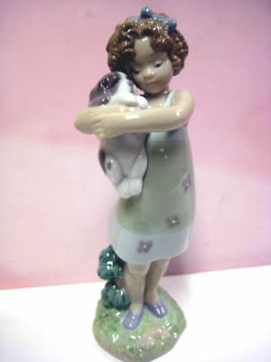 """Lladro  Figurine #8241 """"learning To Care""""   New In Box -Girl Holding Puppy"""