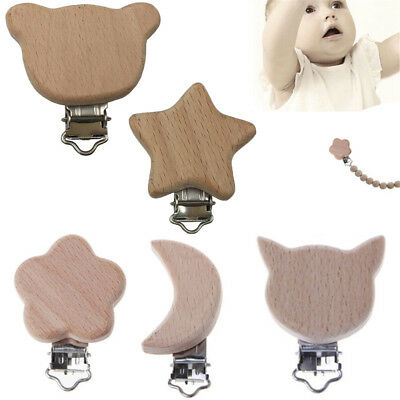 Cartoon Animals Dummy Holder DIY Pacifier Chain  Beech Wood  Pacifier Clip