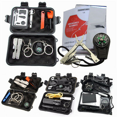 7/8/10/13/15 In 1 SOS Emergency Survival Kit Gear Tools Outdoor Hiking Camping