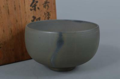 R6301: Japanese Old Bizen-ware Blue color TEA BOWL Green tea tool w/signed box