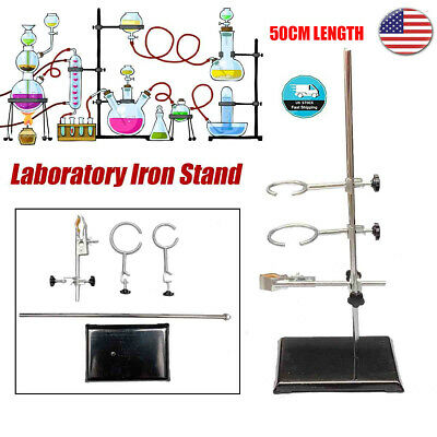 60CM Height Laboratory Iron Stand Support Flask Condenser Clamp Clip Set US