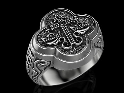 Gothic Men's Orthodox Byzantine Cross Wedding Ring Oxidized 925 Sterling Silver