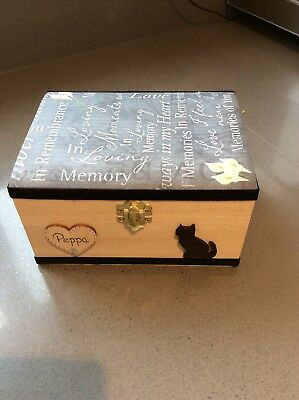 Black Cat Pet In Loving Memory Wooden Box Ashes Casket Personalised Gift Urn