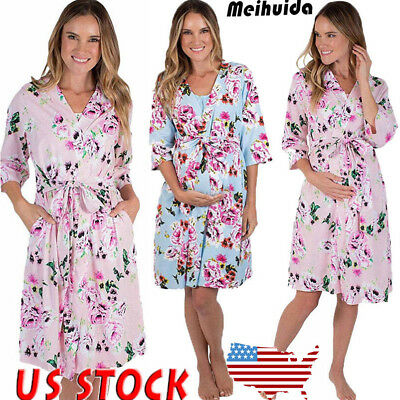 aec2ba2ee4 WOMEN COTTON WAFFLE Bath Robe Suck Sweat Kimono Bathrobe Summer Nightgowns