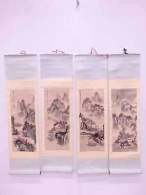 3849018: Chinese Wall Hanging Scroll Set Of 4 / Hand Painted / Four Seasons Scen