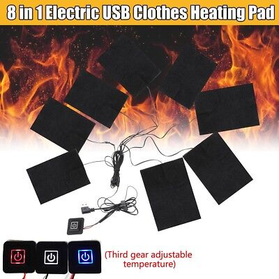 Electric 8 In 1 USB Clothes Heating Pad Adjustable Temp Thermal Clothing Jacket