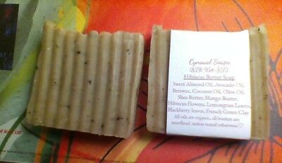 All Natural, Organic, Hibiscus Shea and Mango Butter Bar Soaps, 4+ ounces