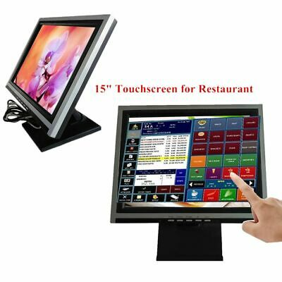 15'' Touch Screen Monitor LED POS Retail Kiosk Restaurant Touchscreen USA Ship