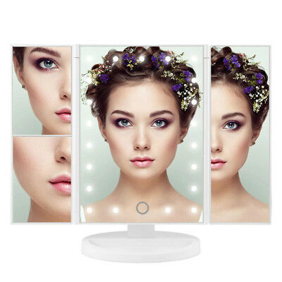 1x/2x/3x 21 LED Lights Makeup Mirror Trifold Touch Screen Vanity Magnifying 180°