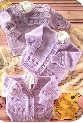 Baby Children Knitting Pattern JUMPERS Cardigans Copy 41 - 56 cm  8 Ply