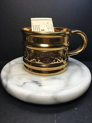 Franklin Toiletry Barbershop Old Fashioned Luxury Gold Shave Mug W/instructions