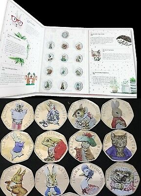 Beatrix Potter 50P Coins 2016/17/18 Full Sets Albums Decals Peter Rabbit Jemima