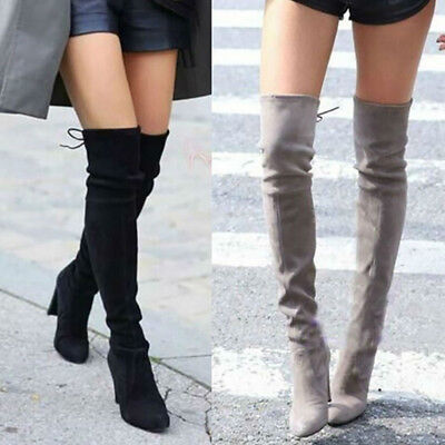AU New Women Ladies Suede Over The Knee Lace Thigh Stretch Block High Heel Boots