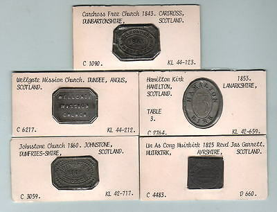 Scotland. Group of 5 different COMMUNION Tokens. Early 1825-1860, in Lead