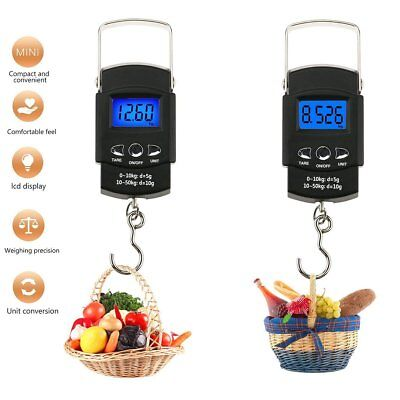LCD Digital Electronic Pocket Scale 50kg Fishing Hanging Luggage Weight Hook