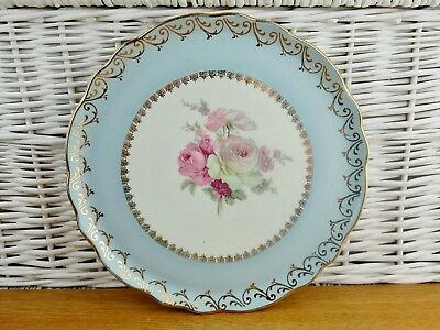 """Old Foley James Kent Cake Plate Floral Bone China  Stand 10.75"""" Approx Blue"""