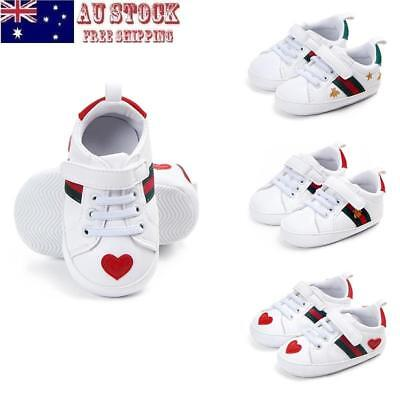 AU Infant Toddler Baby Boy Girl Soft Sole Crib Shoes PU Sneaker Prewalker 0-18M