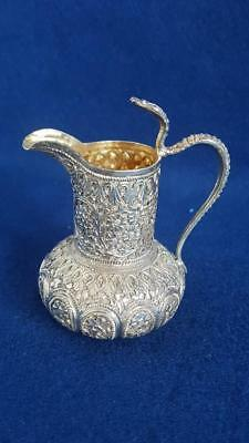 Small Heavy Antique Sterling Silver Persian/Asia Minor Jug w Floral Patterns 81g