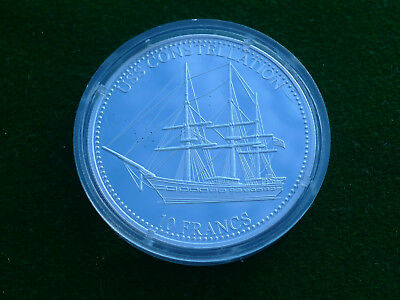 Congo 10 Francs 2001  USS Constellation / Löwe   Silber PP