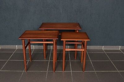 Teak Holz 3er Set side table nesting tables Dreisatztische Arne Hovmand Olsen