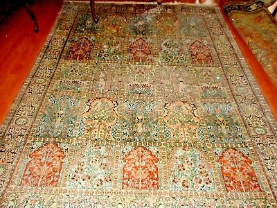 Authentic silk hand knotted oriental carpet rug