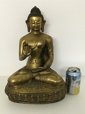 Large Antique Chinese Tibetan Bronze Statue Figure Of Seated Buddha