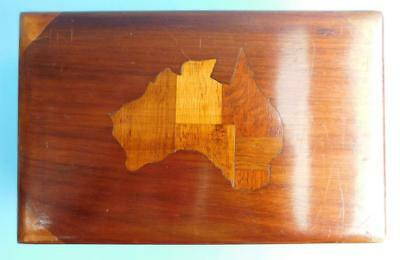 Australia Map! Mixed Timbers Desktop Trinket Box 1900s Blackwood Silky Oak etc