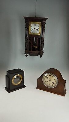 Joblot Vienna and Art Deco Napoleon Hat  Temco Mantle Clocks Spares Or Repairs