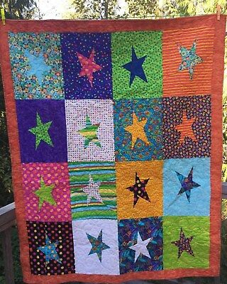 "HANDMADE COLORFUL PATCHWORK  QUILT  58"" x 46"" Stars"