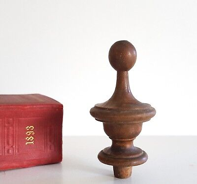 """Antique turned wood post finial end cap Architectural salvage Restoration 3.43"""""""