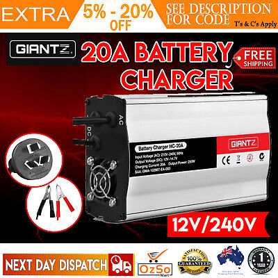 12V-240V Battery Charger 20 Amp for Car ATV 4WD Boat Caravan Motorcycle 20A